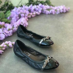 AGL Cap Toe Black Leather Ballet Flats Size 9.5